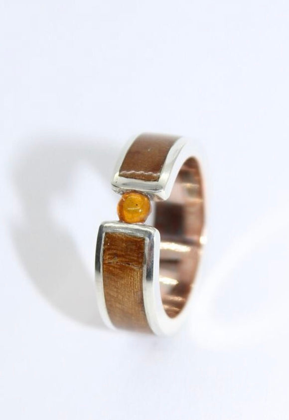 Mokume Gane, Sycamore and Silver Tension Ring with an Amber Stone. - Sam Hawkins