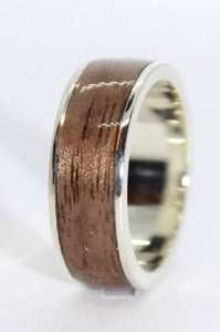 9ct White Gol And Walnut Lipped Ring - Sam Hawkins