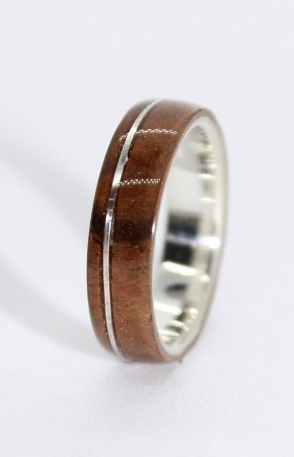 Sterling Silver and Walnut Burl Ring with a Silver Inlay - Sam Hawkins