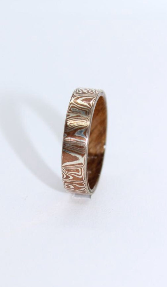 Mokume Gane and Walnut Ring - Sam Hawkins