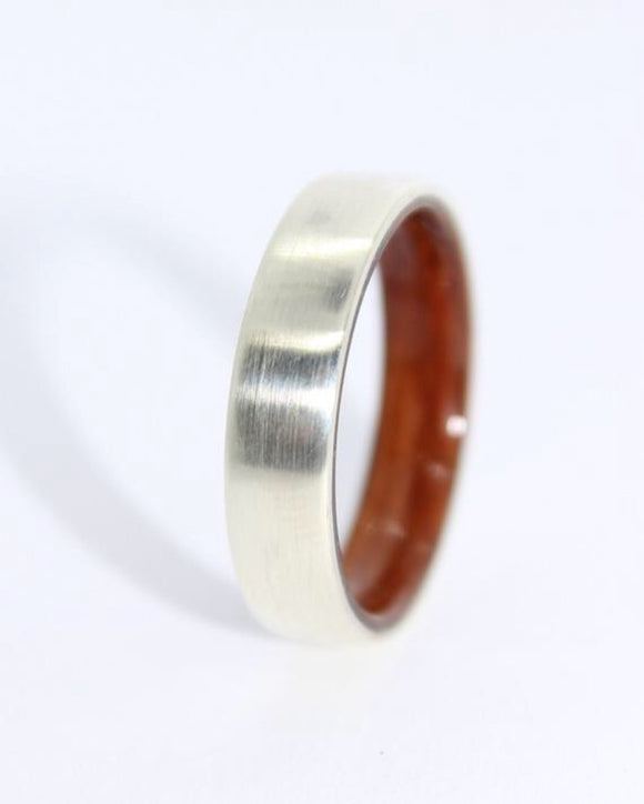9ct White Gold and Zebrawood Ring - Sam Hawkins