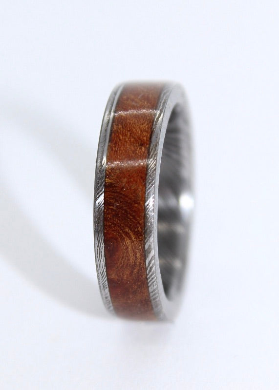 Damascus Steel Ring with a wood/gemstone inlay - Sam Hawkins
