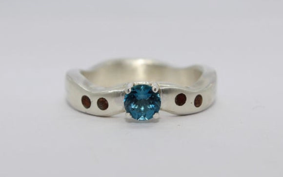 Sterling Silver Wave Ring with a London Blue Topaz and Wood inlay - Sam Hawkins
