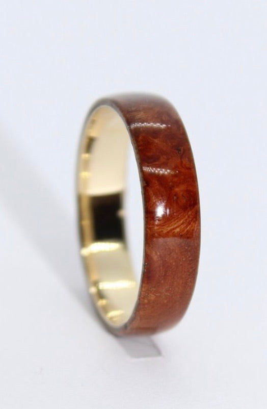 9ct Gold and Elm Burl Ring - Sam Hawkins