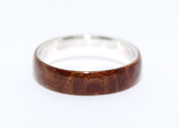 Sterling Silver And Elm Burl Ring. - Sam Hawkins
