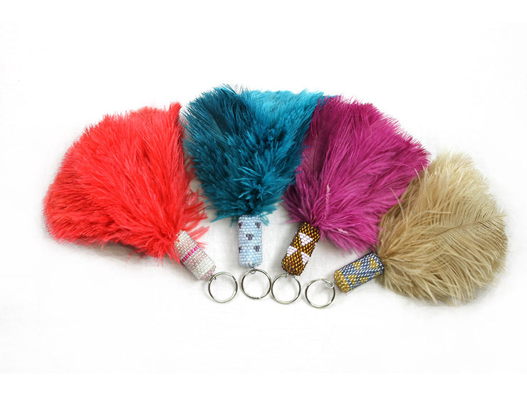 Ostrich Feather Key Rings with Beads - Ostrich Feathers - Ostrich.co.za