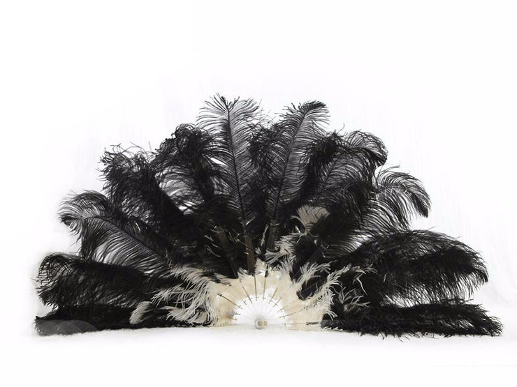 Burlesque Feather Fan - Double Layer - Ostrich Feather Fans - Ostrich.co.za