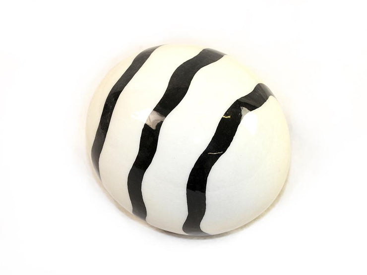 Decoupage Ostrich Egg Shell (Black Curly Stripes) - Ostrich Egg Shells - (Sold By Piece)