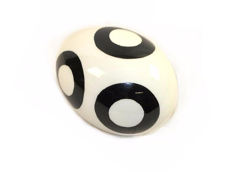 Decoupage Ostrich Egg Shell (Black Circle) - Ostrich Egg Shells - (Sold By Piece)