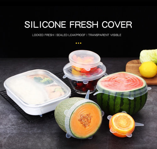6 Pcs/ Set - Universal Food Silicone Cover Reusable - Silicone Stretch Lids Caps