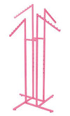 Hot Pink 4-Way Clothing Rack with Slant Arms - Las Vegas Mannequins