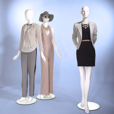 Female - Oval head facing straight, arms at side, right leg slightly bent - Las Vegas Mannequins