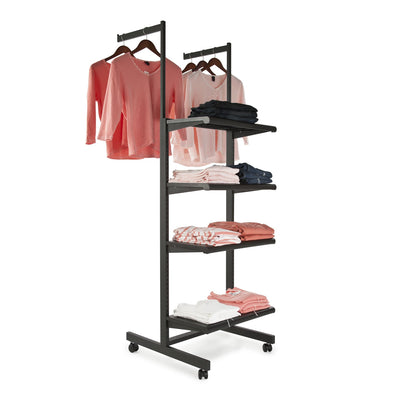 "Frame w/ 4-24"" Shelves and 2-16"" Arms; 1"" x 2"" Rectangular Tubing - Las Vegas Mannequins"