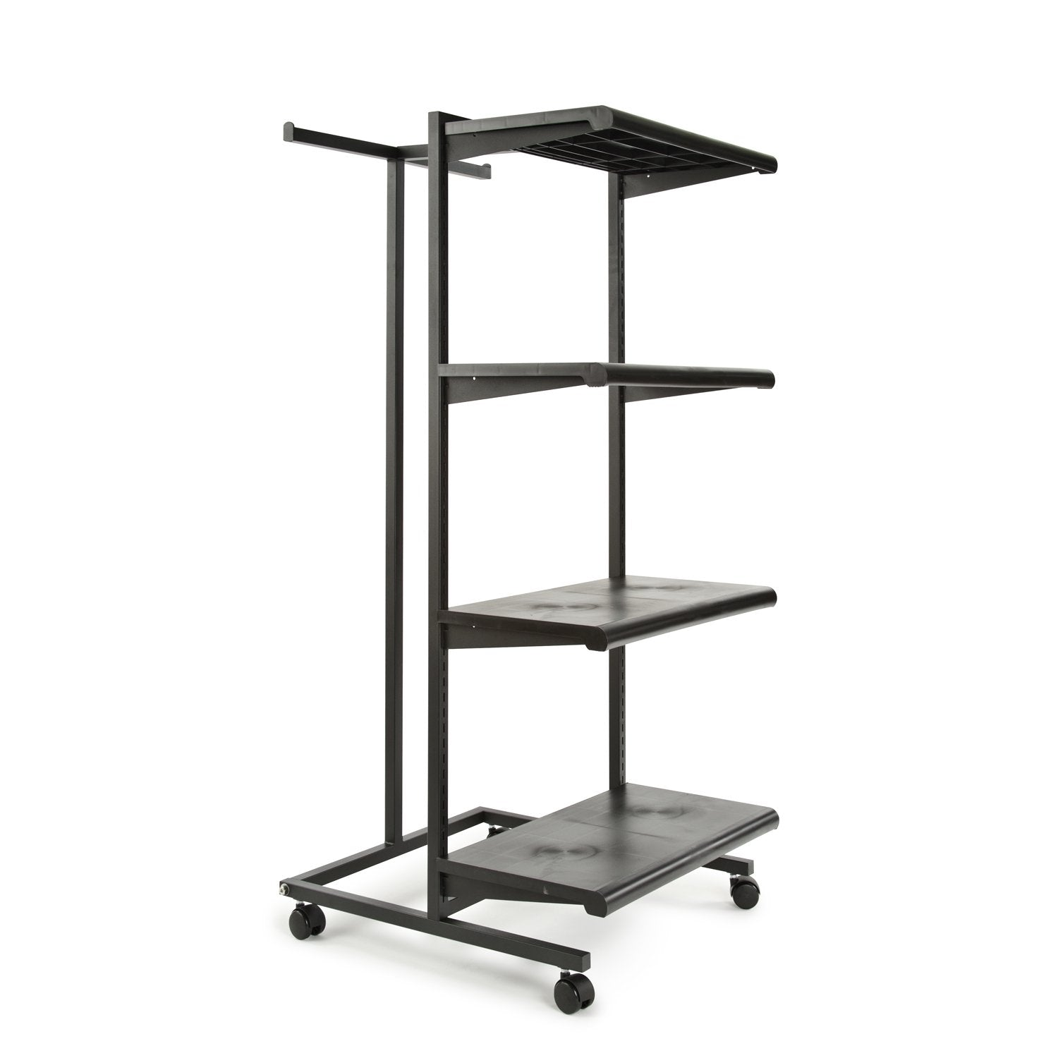 "Frame w/ 4-24"" Shelves and 1 T-Stand; 1"" Square Tubing - Las Vegas Mannequins"