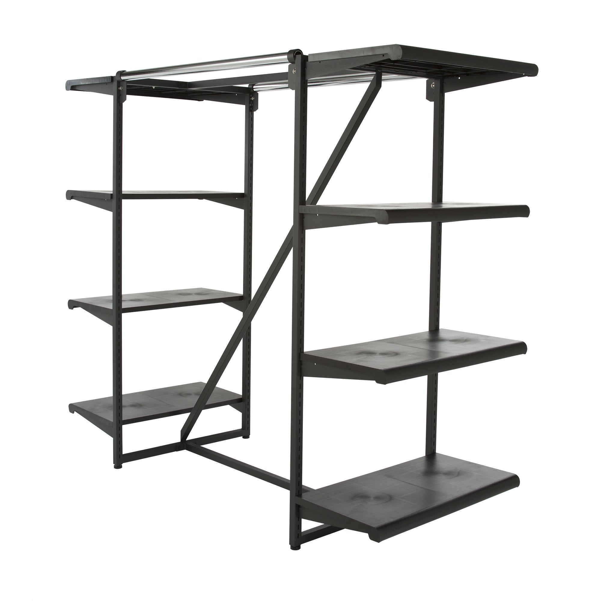 "Rental Double Hangrail Frame Rack w/ 8-24"" Shelves; 1"" Square Tubing"