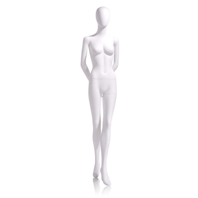 Female - Oval head facing straight, arms behind back, left leg slightly forward - Las Vegas Mannequins