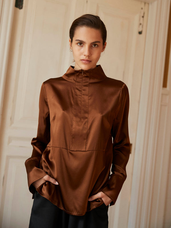 Ylva Silk T-Neck Blouse