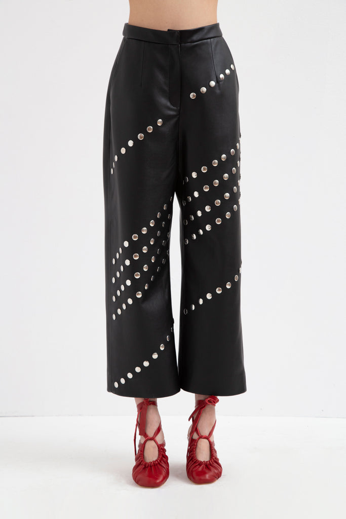 STUDDED LEATHER PANTS - Materiel