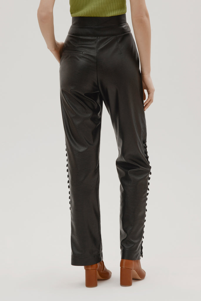 Faux leather pants w/buttons