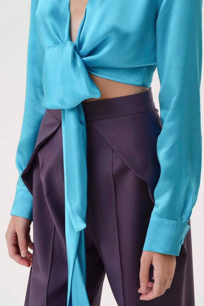 SILK WRAP AROUND BLOUSE - Materiel