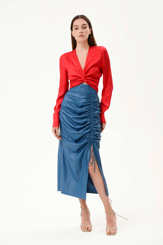 FAUX LEATHER RUCHED SKIRT - Materiel