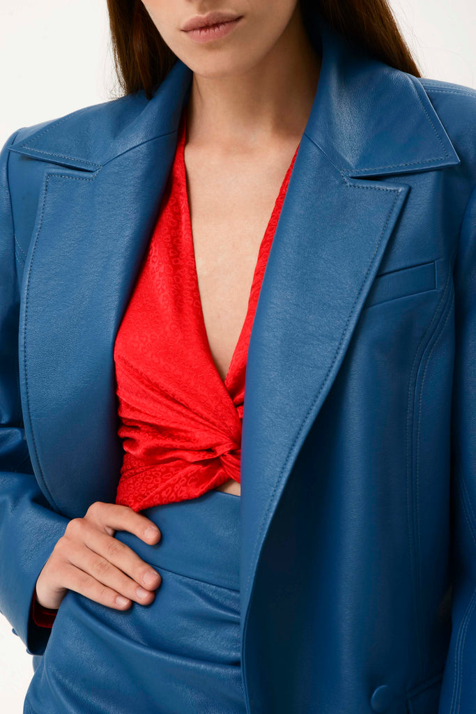 WIDE LAPEL FAUX LEATHER BLAZER - Materiel