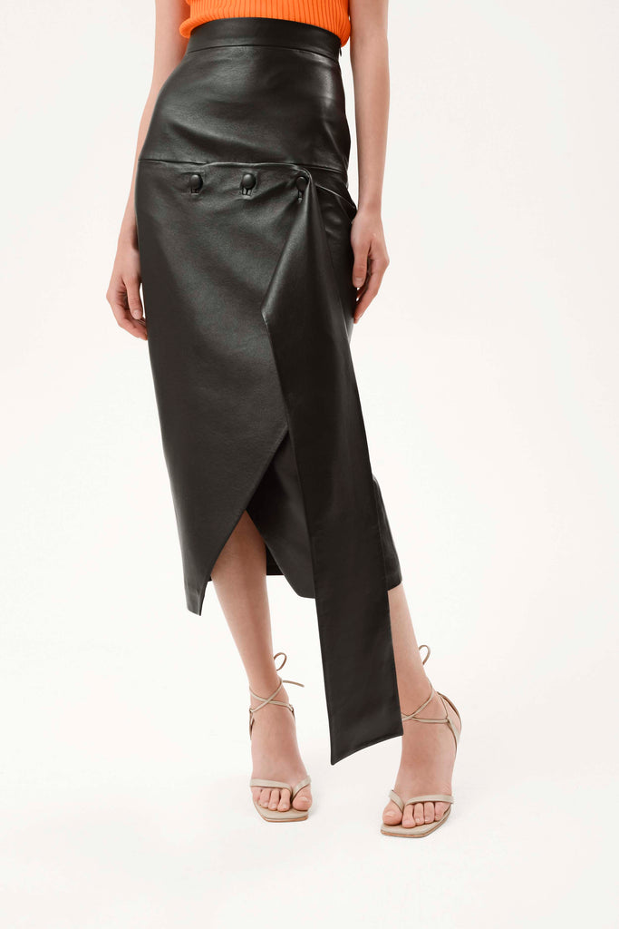 ASYMMETRICAL FAUX LEATHER SKIRT - Materiel