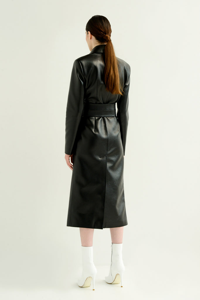 Faux leather coat w/double belt - Materiel