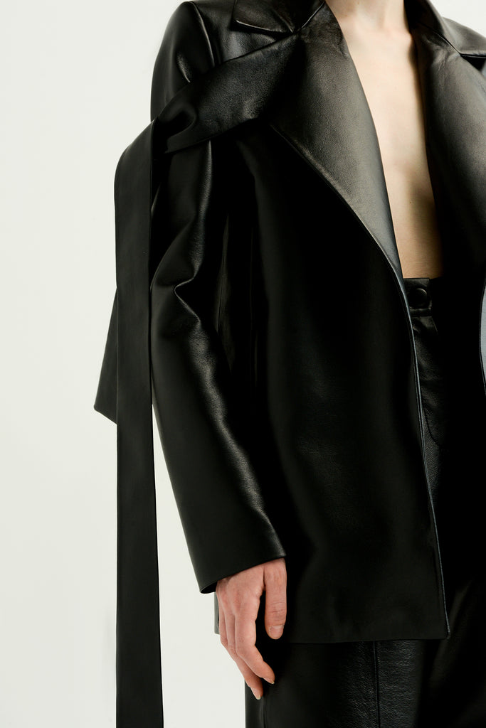 FAUX LEATHER BLAZER W/ TIES - Materiel