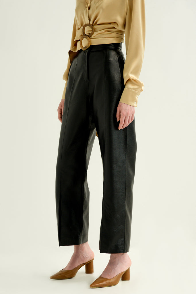 Faux leather pants w/ slits - Materiel