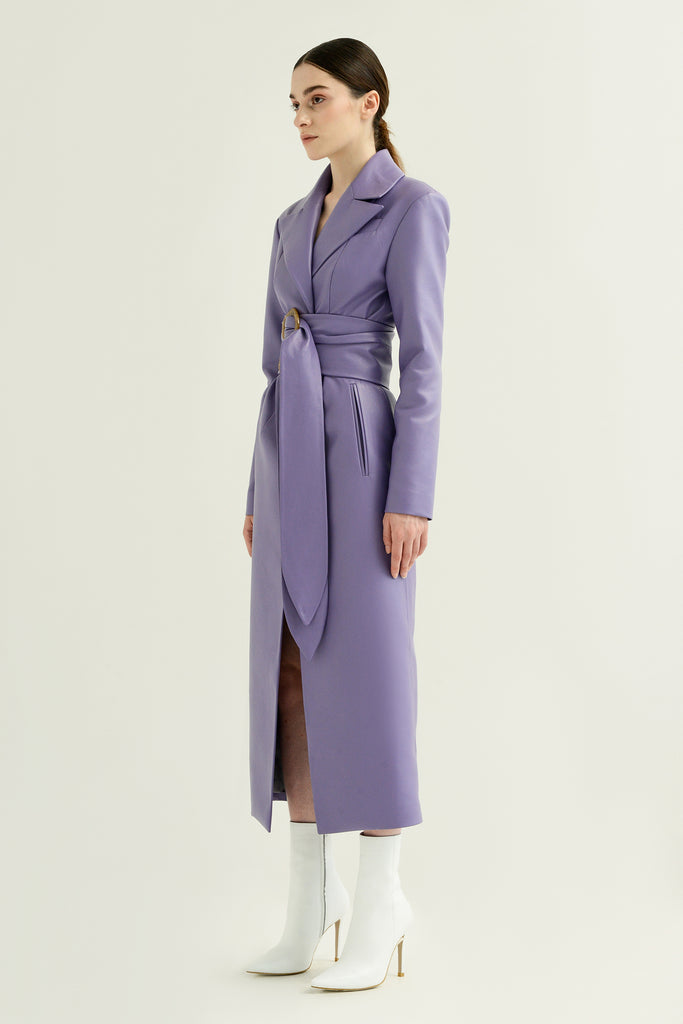 Faux leather coat w/ double belt - Materiel