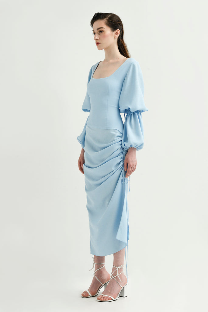 Draped dress w/lantern sleeves - Materiel
