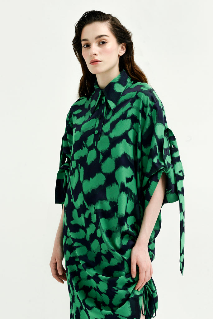 Printed asymmetrical shirt dress - Materiel