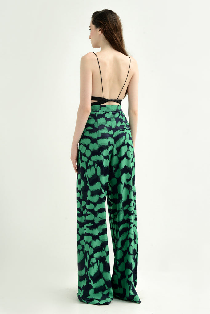 Printed pleated pants
