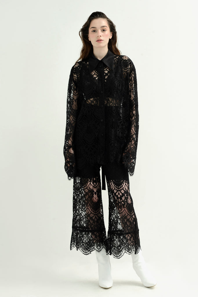 Lace shirt w/ silk collar - Materiel