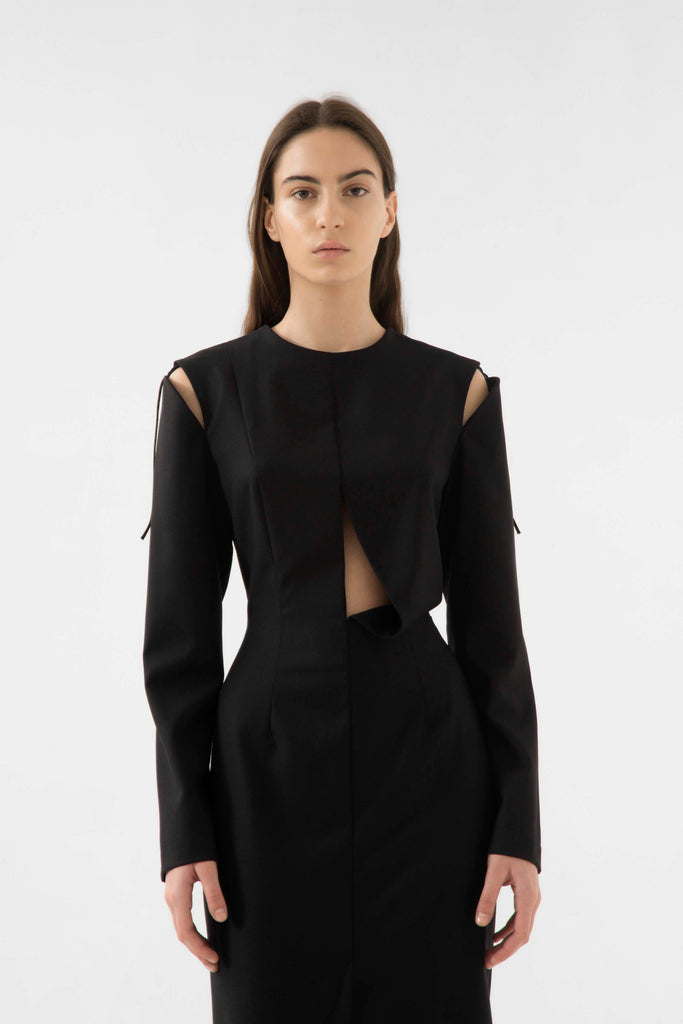 Wool cut out dress - Materiel
