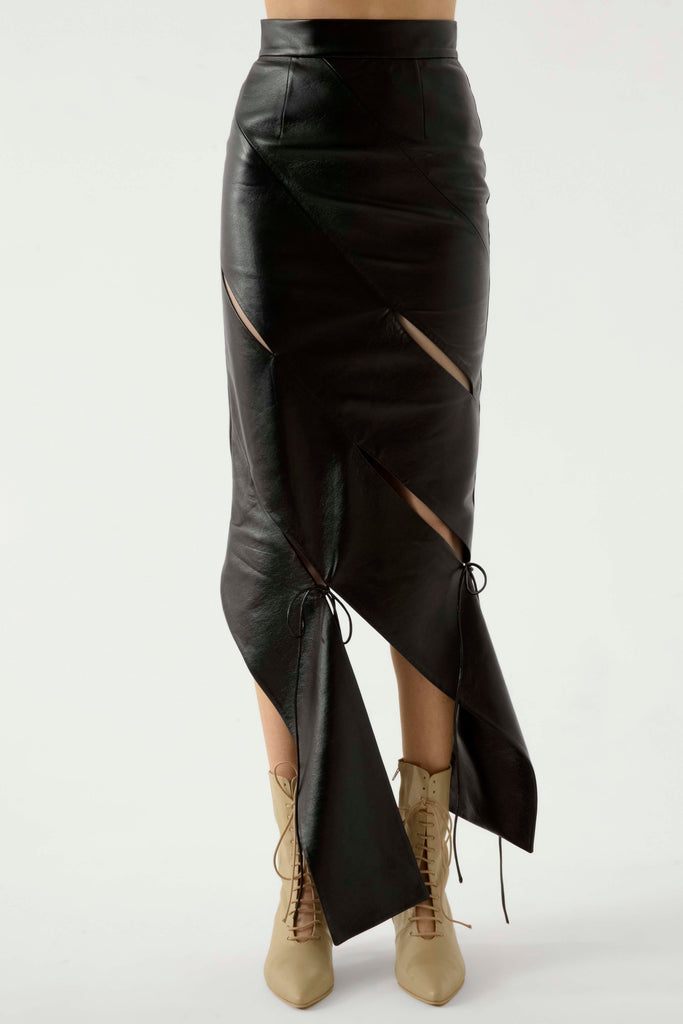 SLASHED LEATHER SKIRT - Materiel