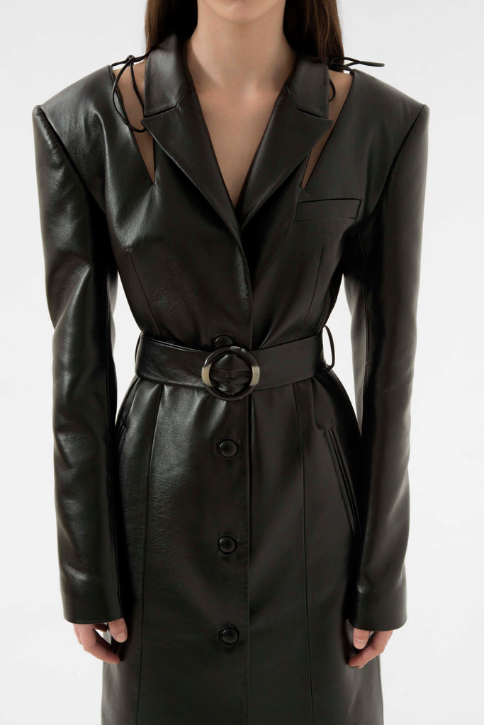 faux leather cut out coat - Materiel