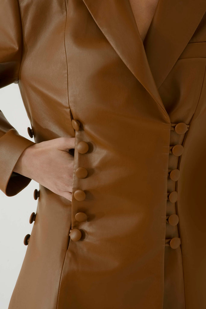 Long leather blazer w / buttons - Materiel