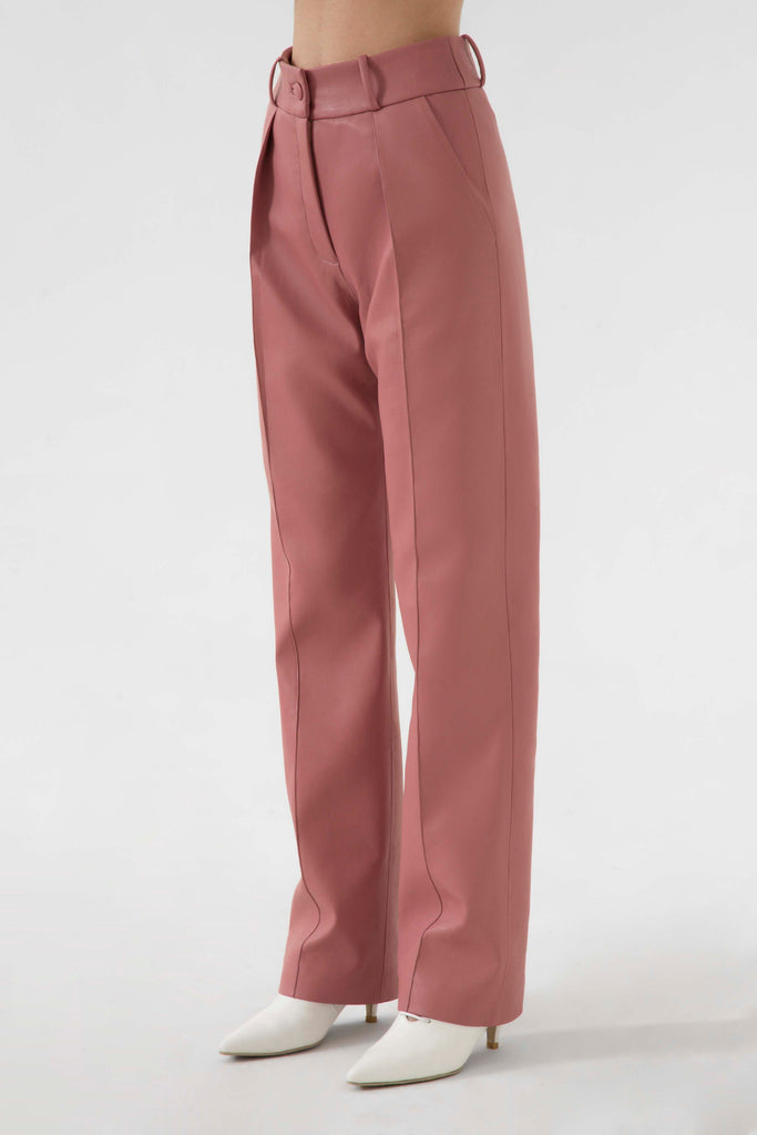 FAUX LEATHER STRAIGHT PANTS - Materiel