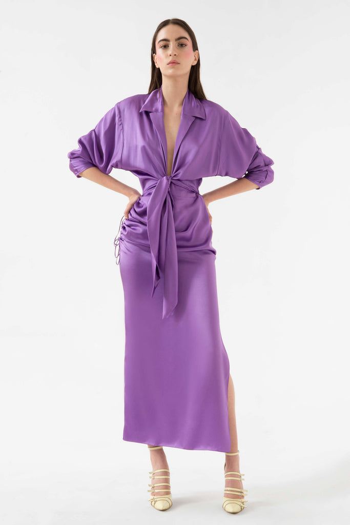 Front tie two piece silk dress - Materiel