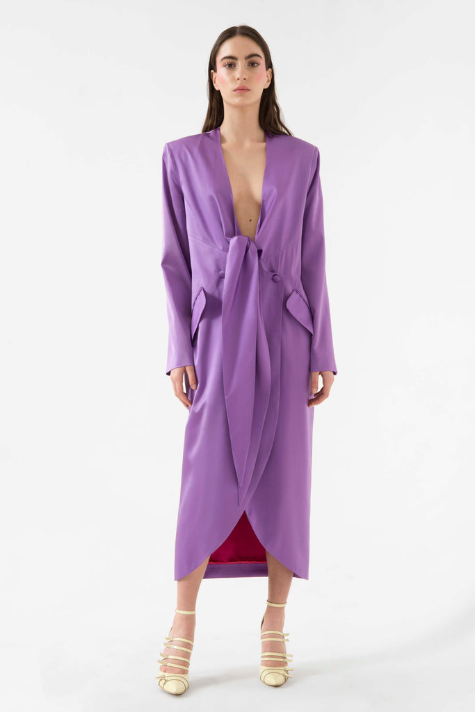 Front tie silk dress - Materiel