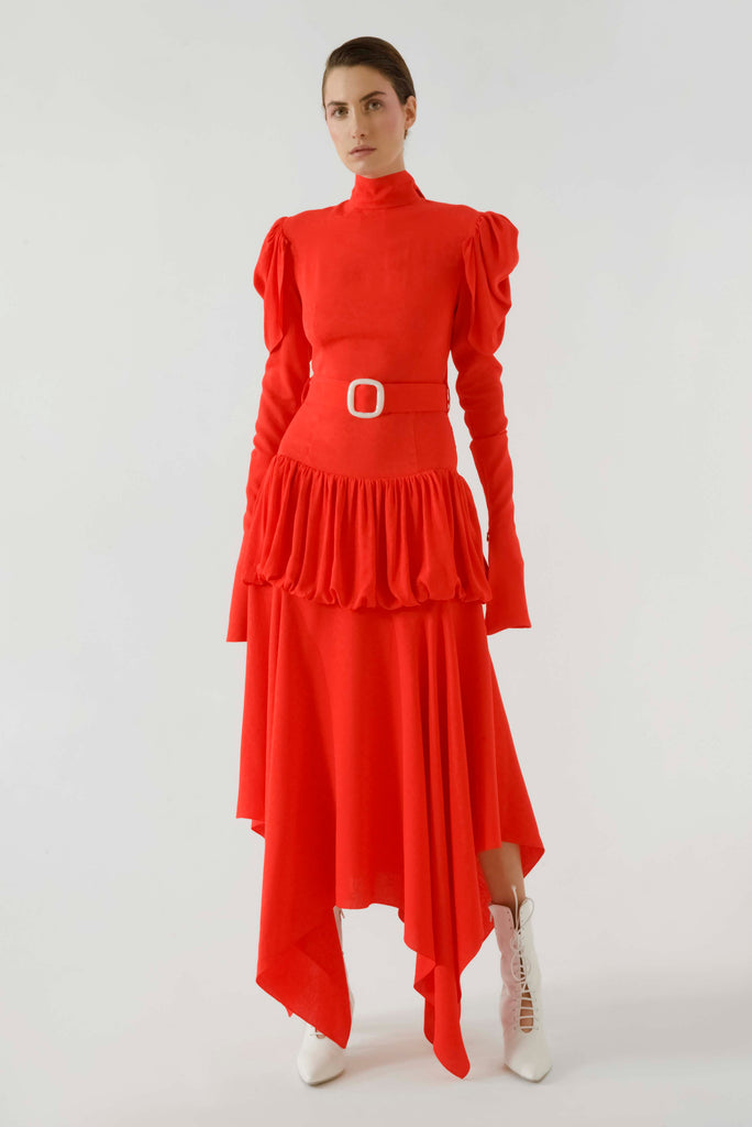 HIGH NECK BELTED DRESS - Materiel