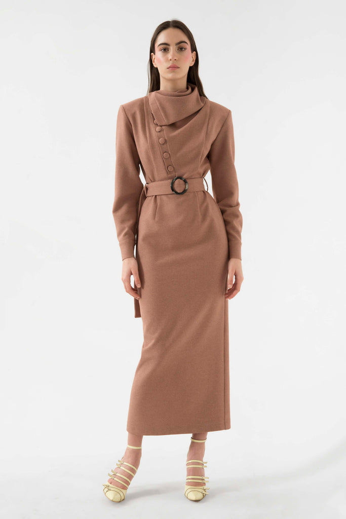 Belted dress w/collar - Materiel