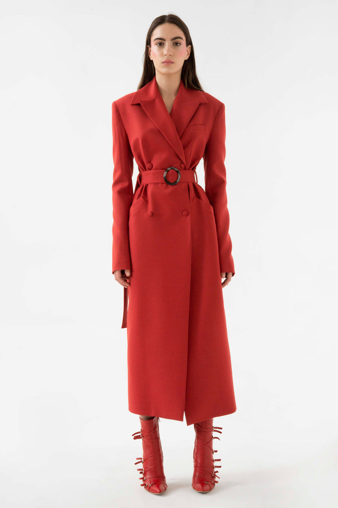 Belted wool coat - Materiel