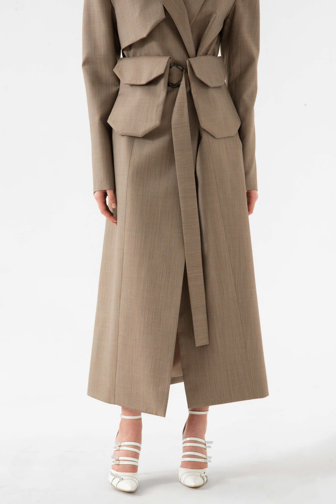 LONG COAT W/BELT BAG - Materiel