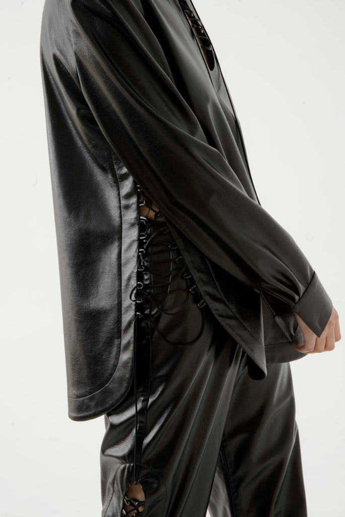 Lace up leather shirt - Materiel