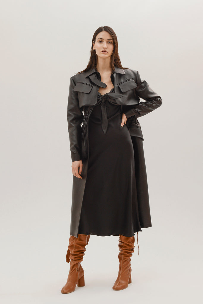 Faux leather cargo coat - Materiel