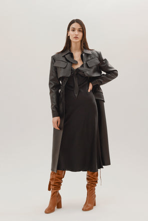 Faux leather cargo coat by Materiel Tbilisi, available on materieltbilisi.com for $1037 Kylie Jenner Outerwear SIMILAR PRODUCT