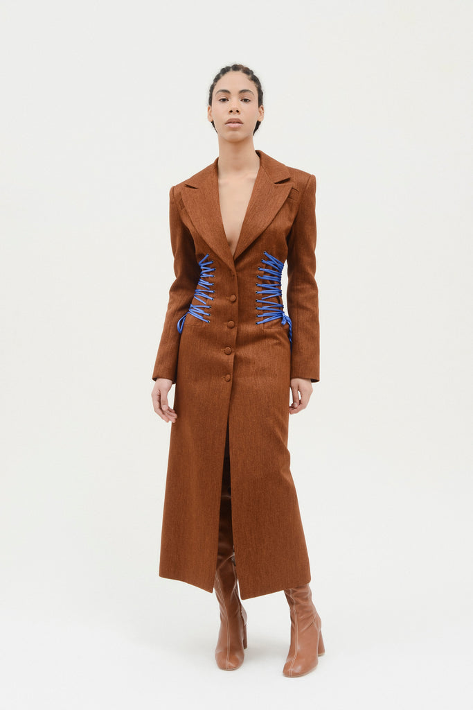 Fitted coat w/waist ties - Materiel
